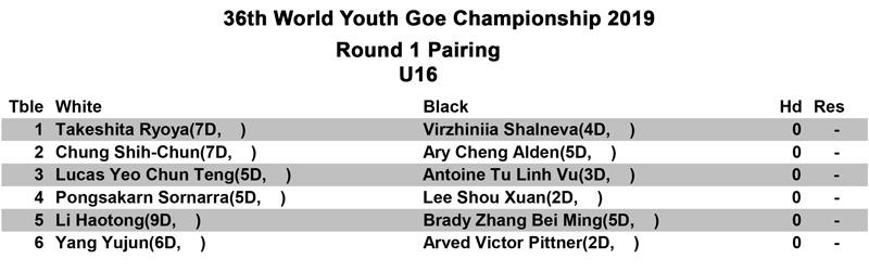 U16-Round-1-Pairing